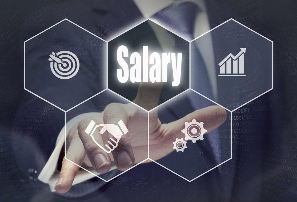 Businessman pressing an Salary concept button.
